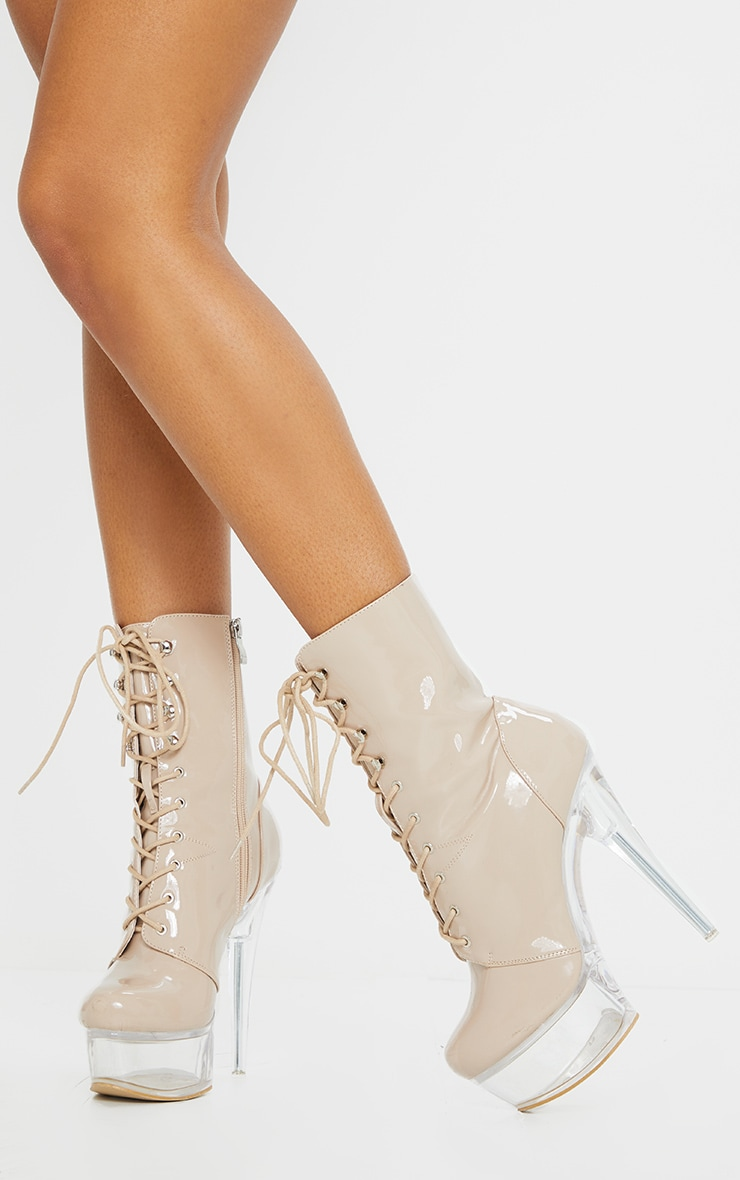 Nude Patent Lace Up Extreme Platform Heeled Boot 2