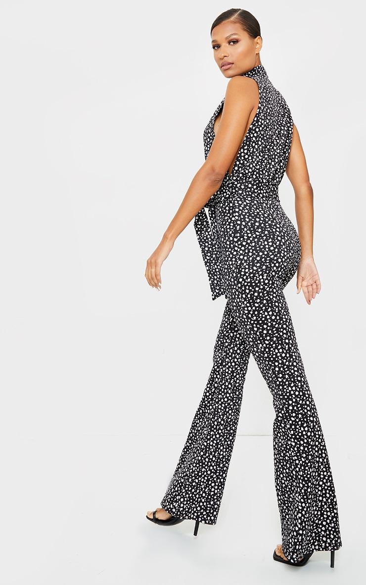 Black Dalmatian Print Scuba High Neck Tie Waist Jumpsuit 2