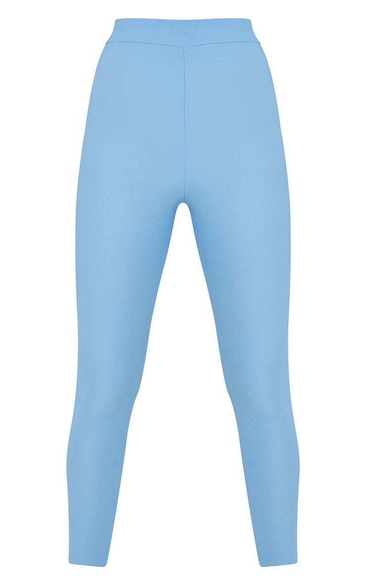 Dusty Blue Power Stretch Rib Leggings 5