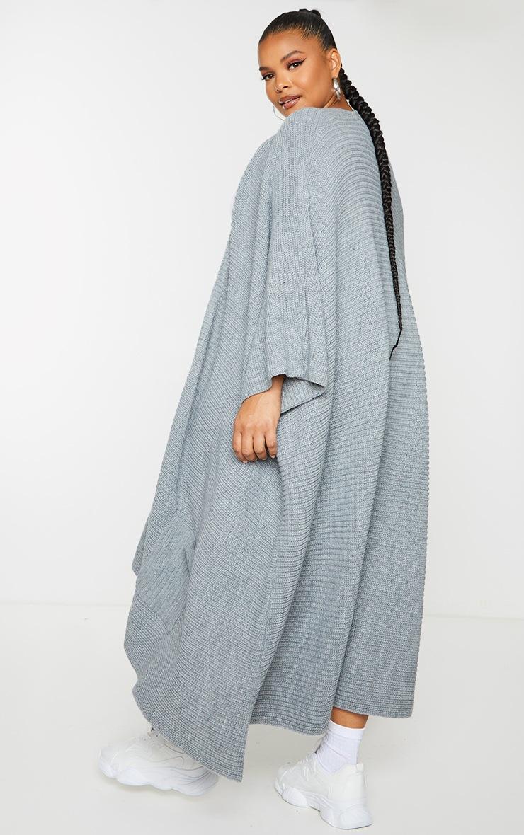 Plus Grey Chunky Knit 3/4 sleeve Wrap Cardigan 2