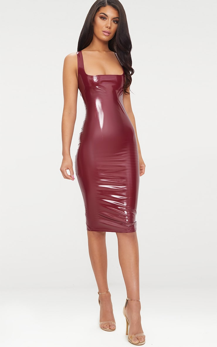 Wine Vinyl Square Neck Midi Dress 1