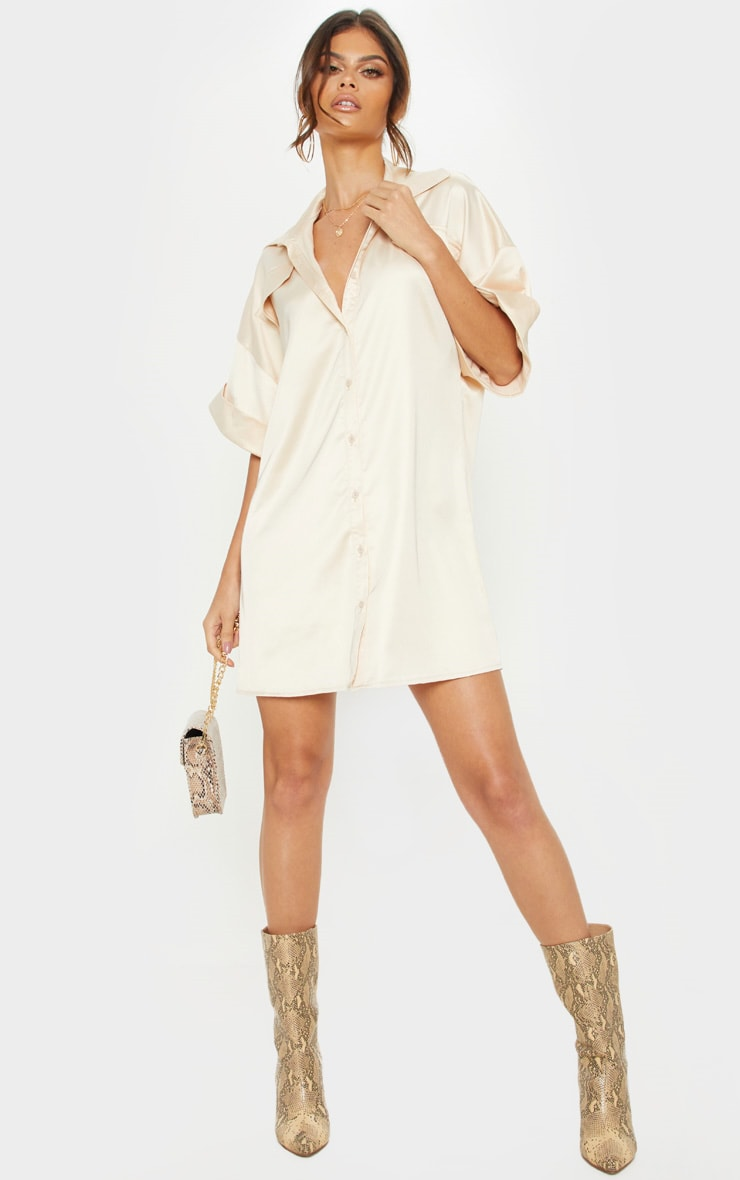 58322dbd Champagne Satin Pocket Front Short Sleeve Shirt Dress