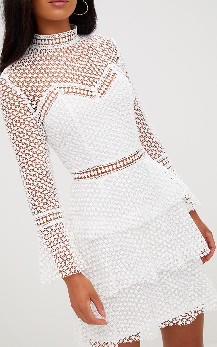 White Flare Sleeve Lace Tiered Mini Dress 5