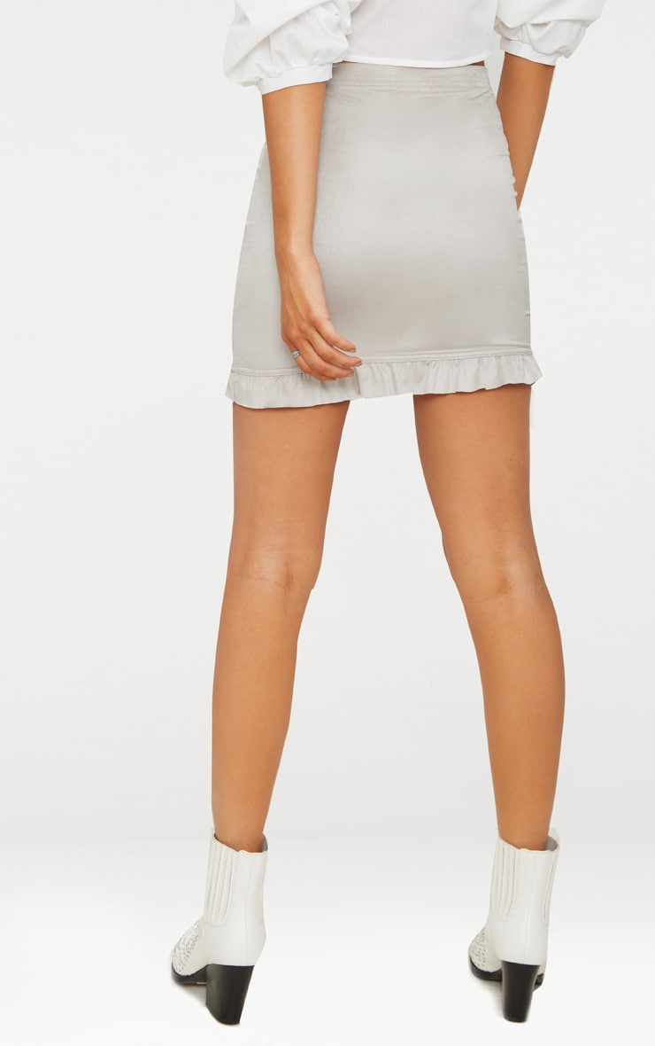 Grey Faux Suede Frill Hem Mini Skirt  4
