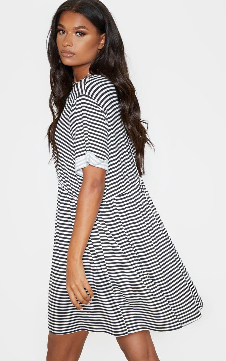 Cream Contrast Stripe Roll Sleeve Smock Dress 2