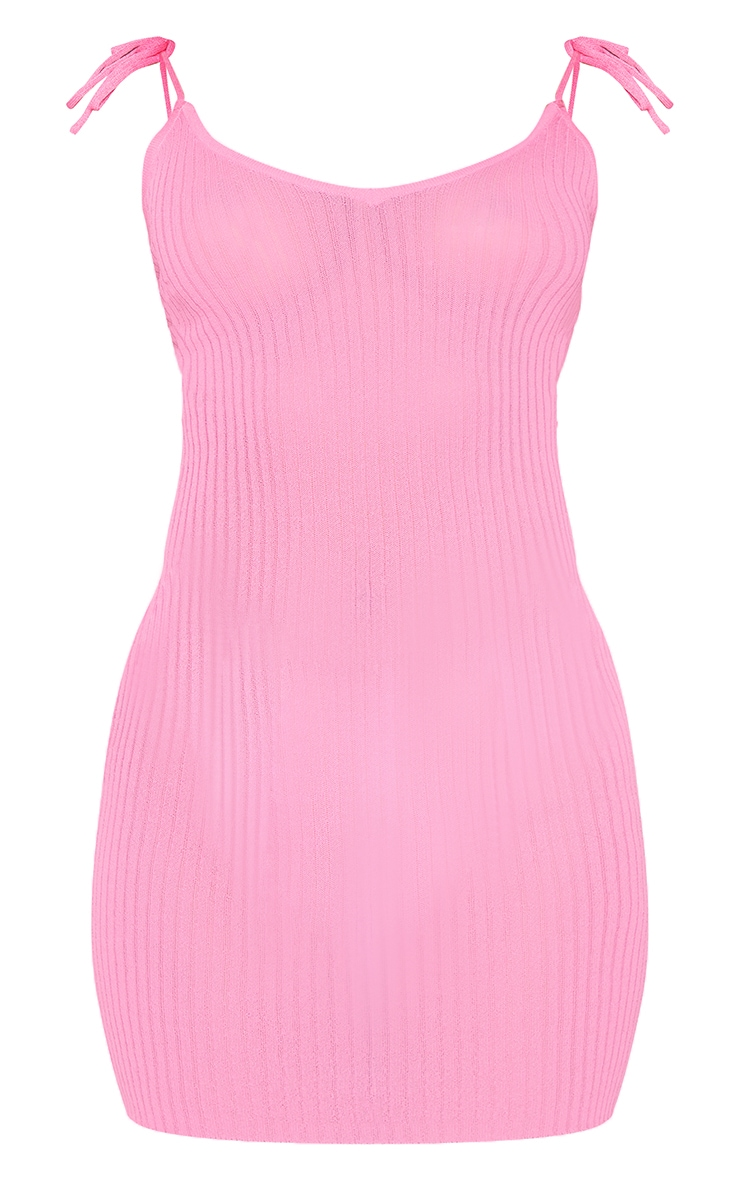 Pink Sheer Knit Tie Back Mini Dress 5