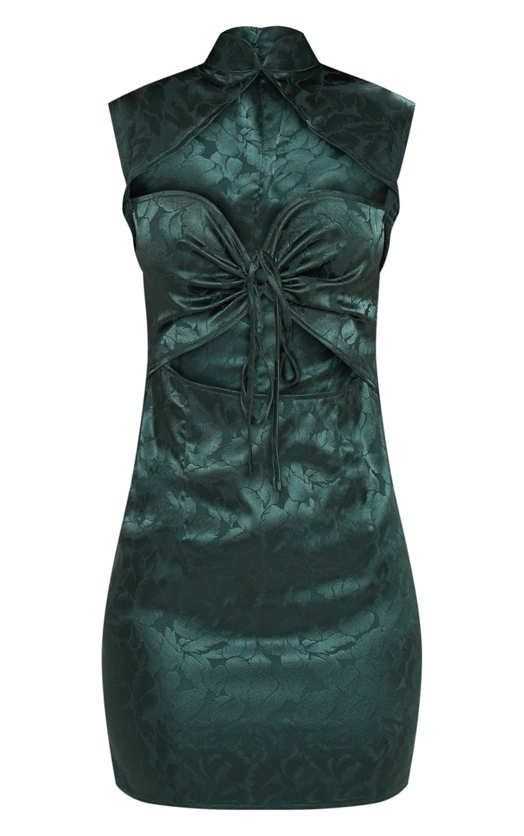 Emerald Green Floral Satin High Neck Cut Out Front Shift Dress 3
