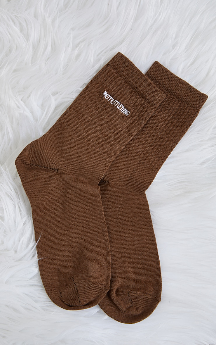 PRETTYLITTLETHING Espresso Ribbed Socks 3