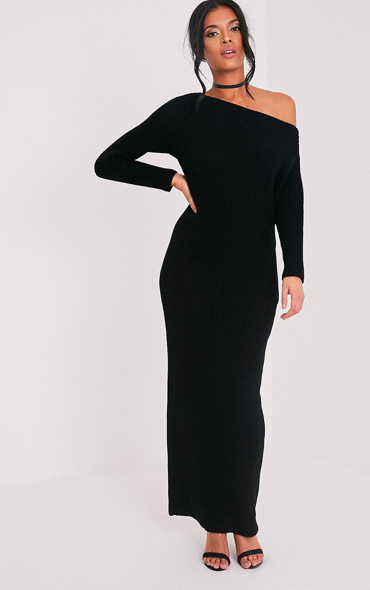 Adalynn robe pull maxi à épaules dénudées noire 1