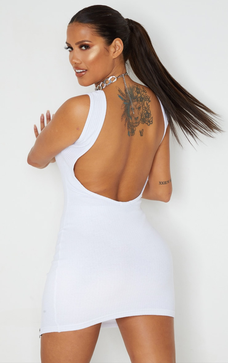 Shape White Thick Rib Zip Detail Scoop Back Bodycon Dress 2