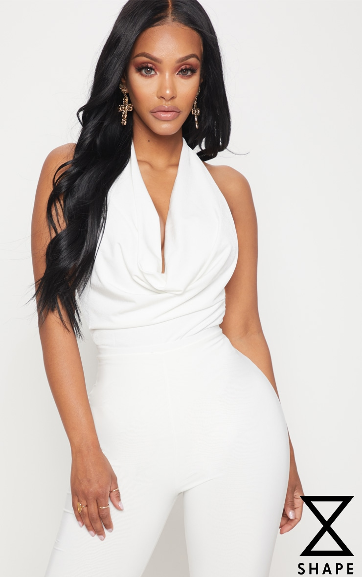 Shape White Slinky Cowl Neck Bodysuit
