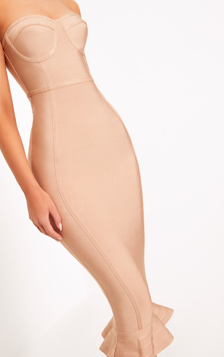 Roxina Camel Bandage Frill Hem Midi Dress 5
