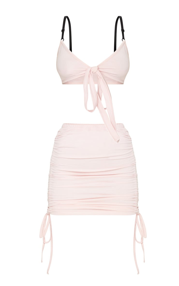 Light Pink Ruched Tie Side Mini Skirt 5