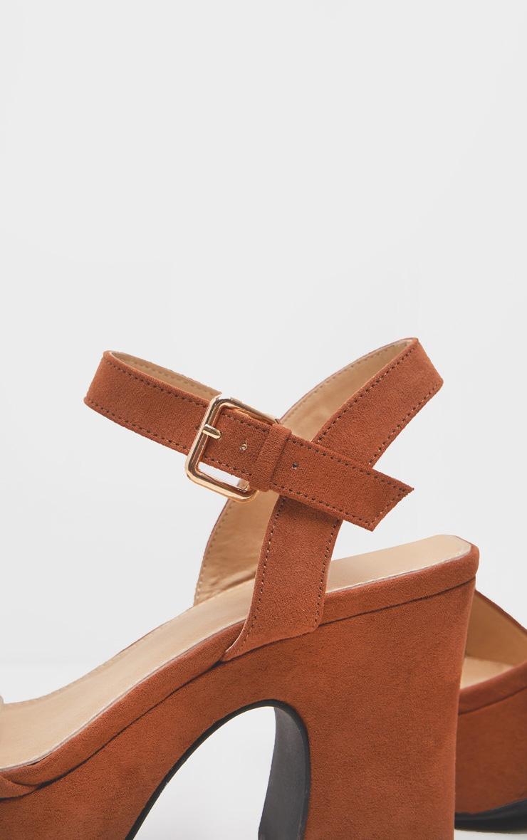 Tan 70's Platform Chunky Sandal 4