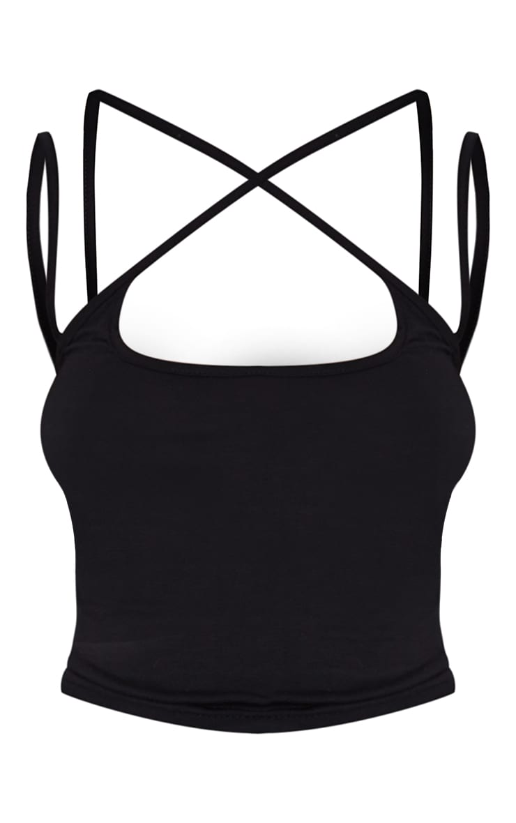 Basic Black  Jersey Strappy Cross Front Crop Top 5