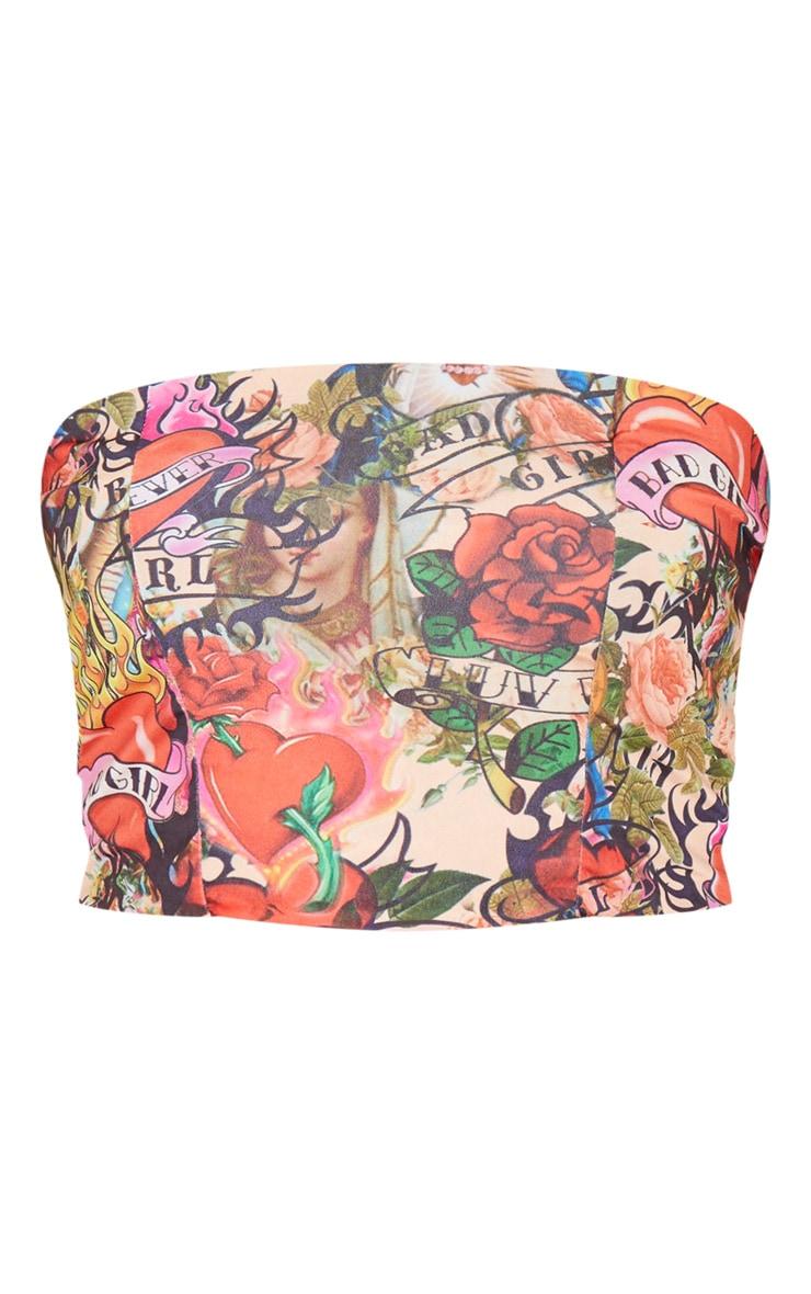Crop top bandeau multicolore imprimé tatouage 5