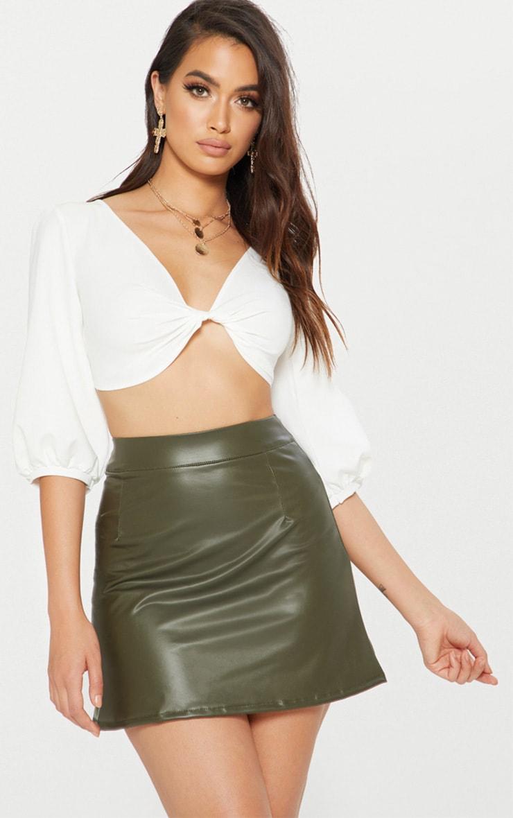 Khaki Faux Leather A-Line Mini Skirt