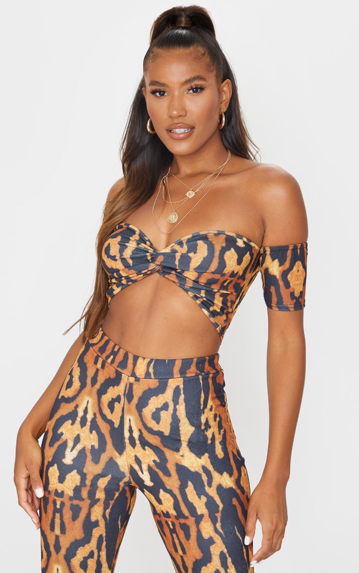 Brown Leopard Print Crepe Bardot Twist Front Crop Top 1