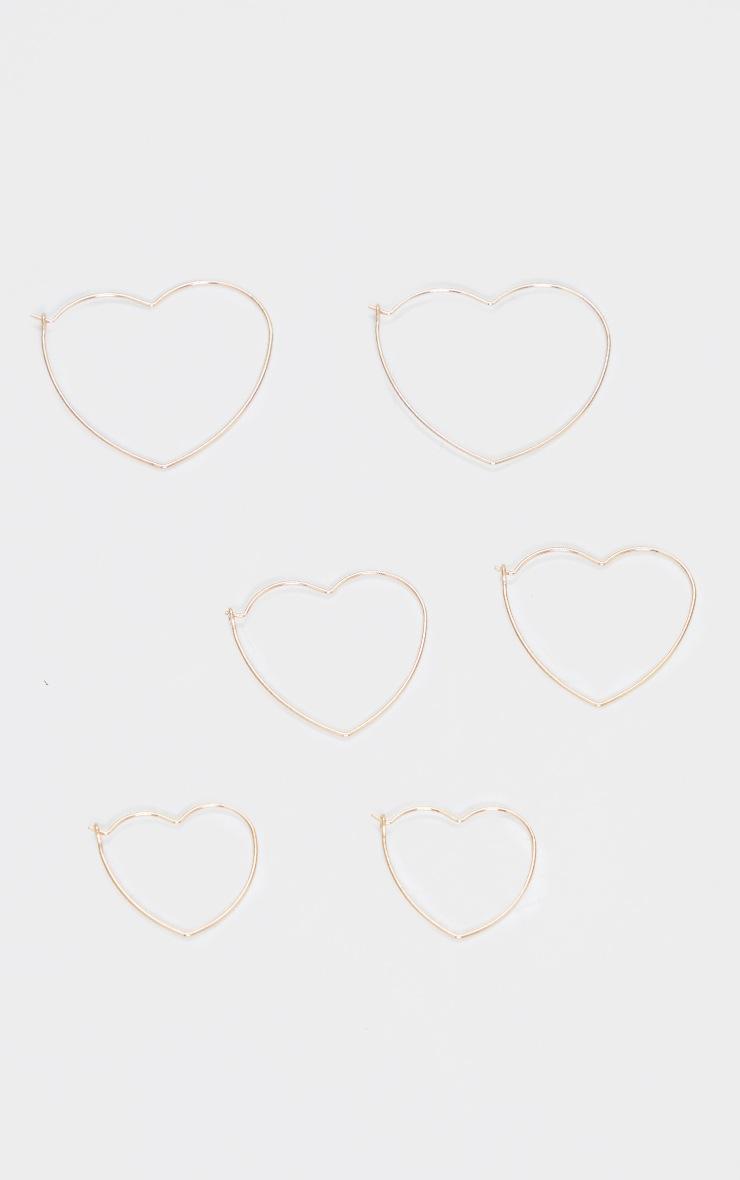 Lot de 3 paires de créoles coeurs dorées variées 2