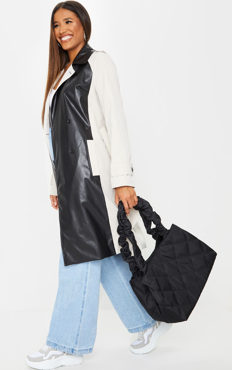 Black Ruched Oversized Tote Bag 2