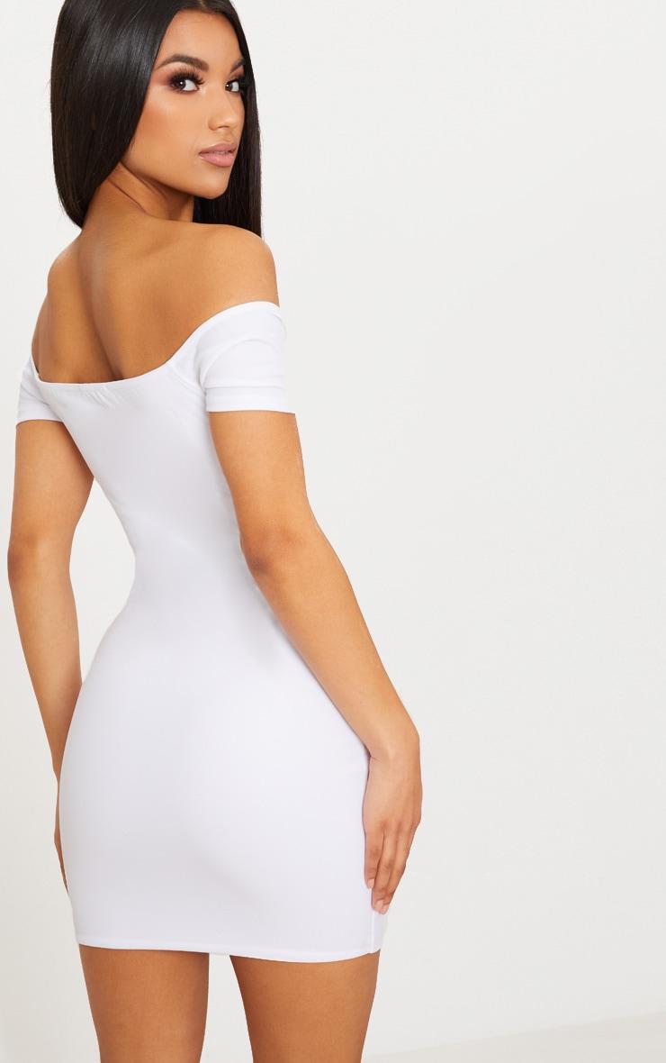 White Eyelet Detail Ribbon Tie Bardot Bodycon Dress 2
