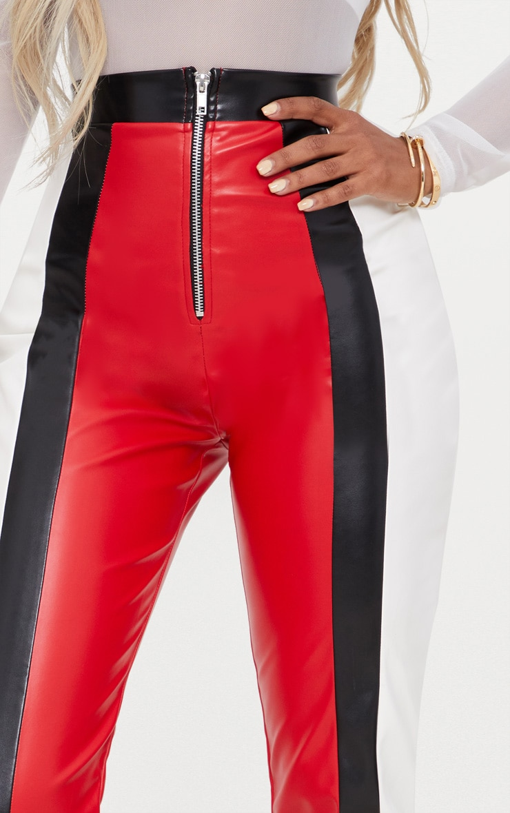Shape Red PU Panel Trousers 5