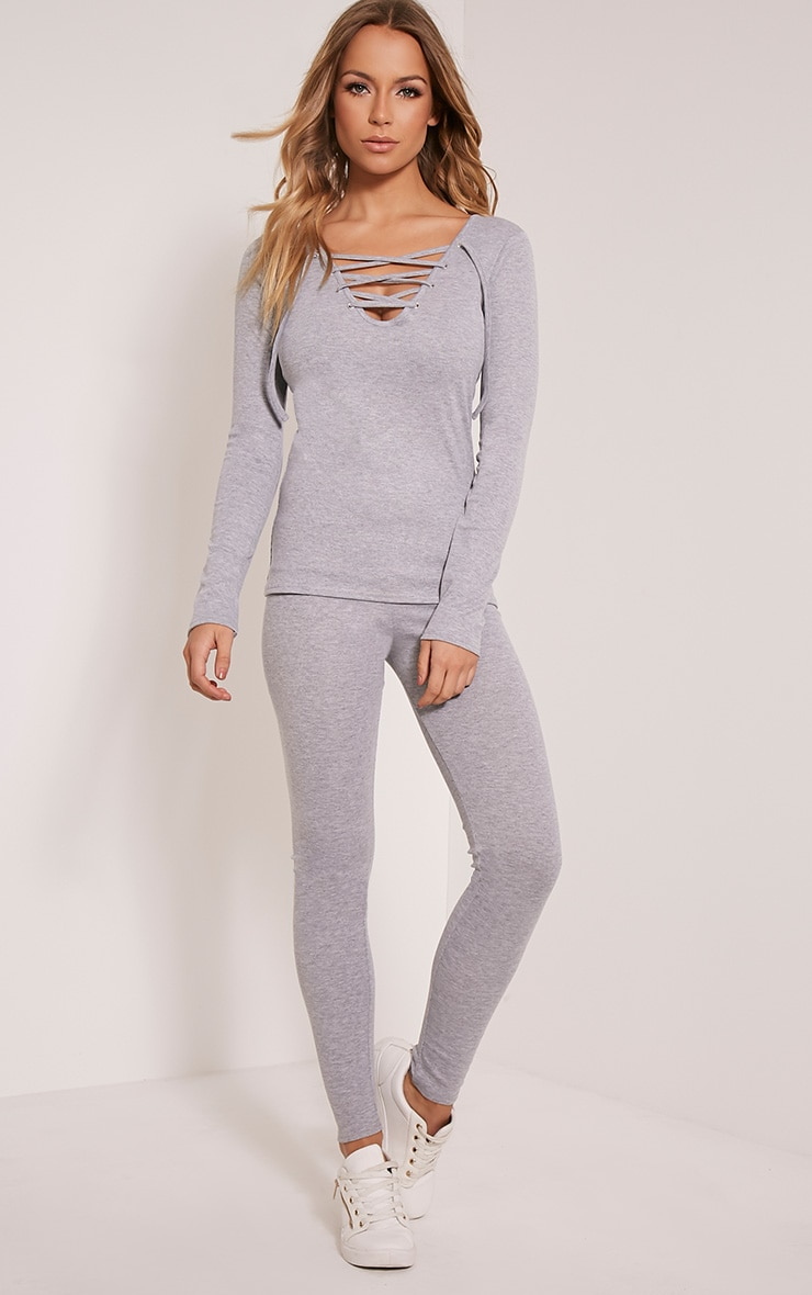Luco Grey Lace Up Ribbed Top 5