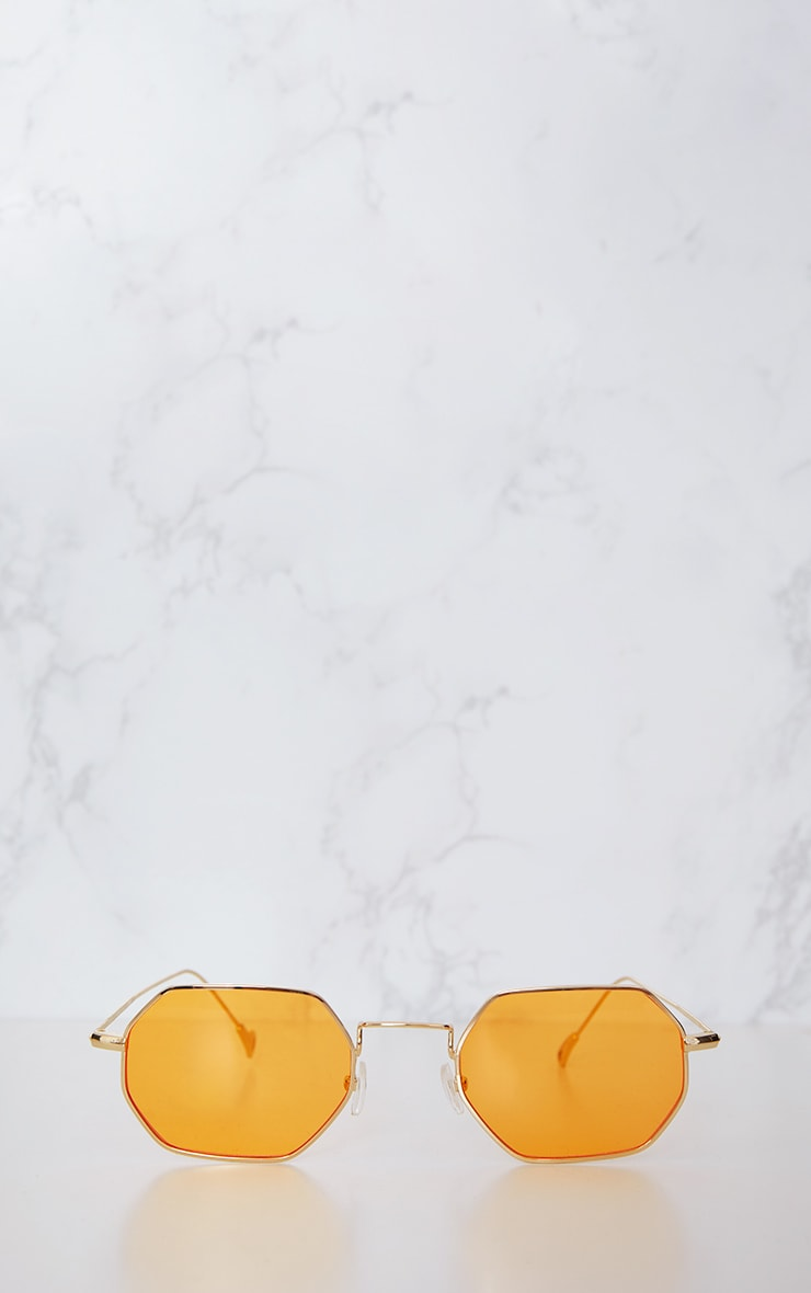Orange Hexagon Retro Sunglasses 4
