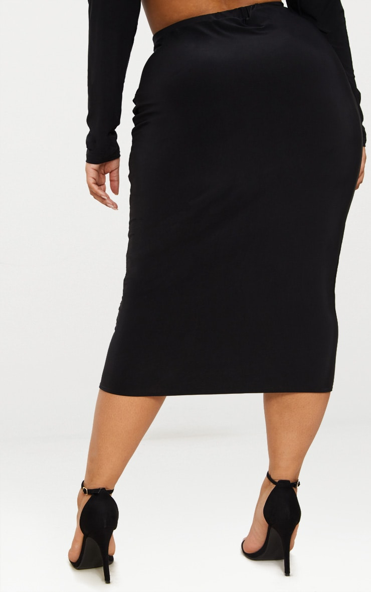 Plus Black Slinky Midi Skirt 4