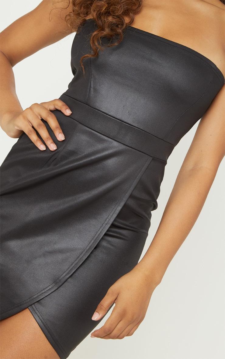 Tall Black PU Zip Back Bandeau Bodycon Dress 5