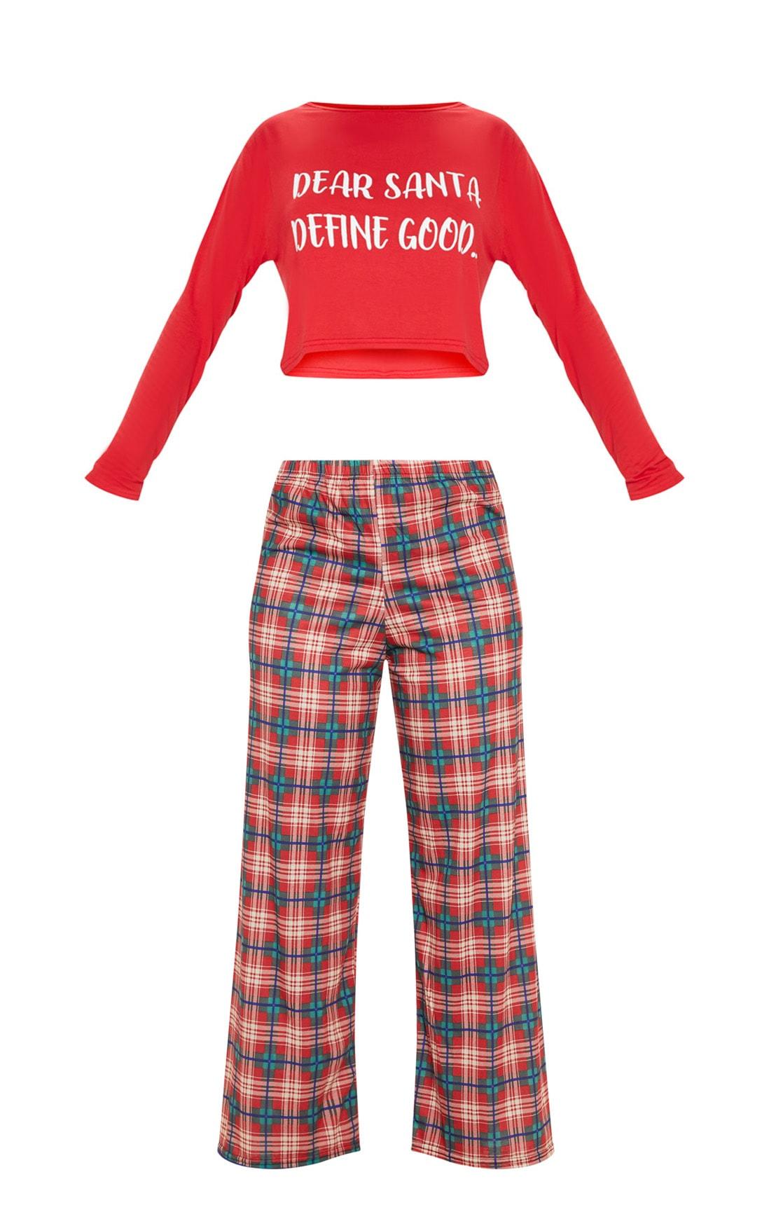 Santa Define Good Check Red Pyjama Set  3