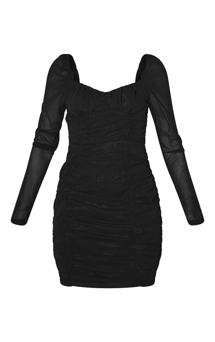 Tall Black Ruched Mini Dress 6