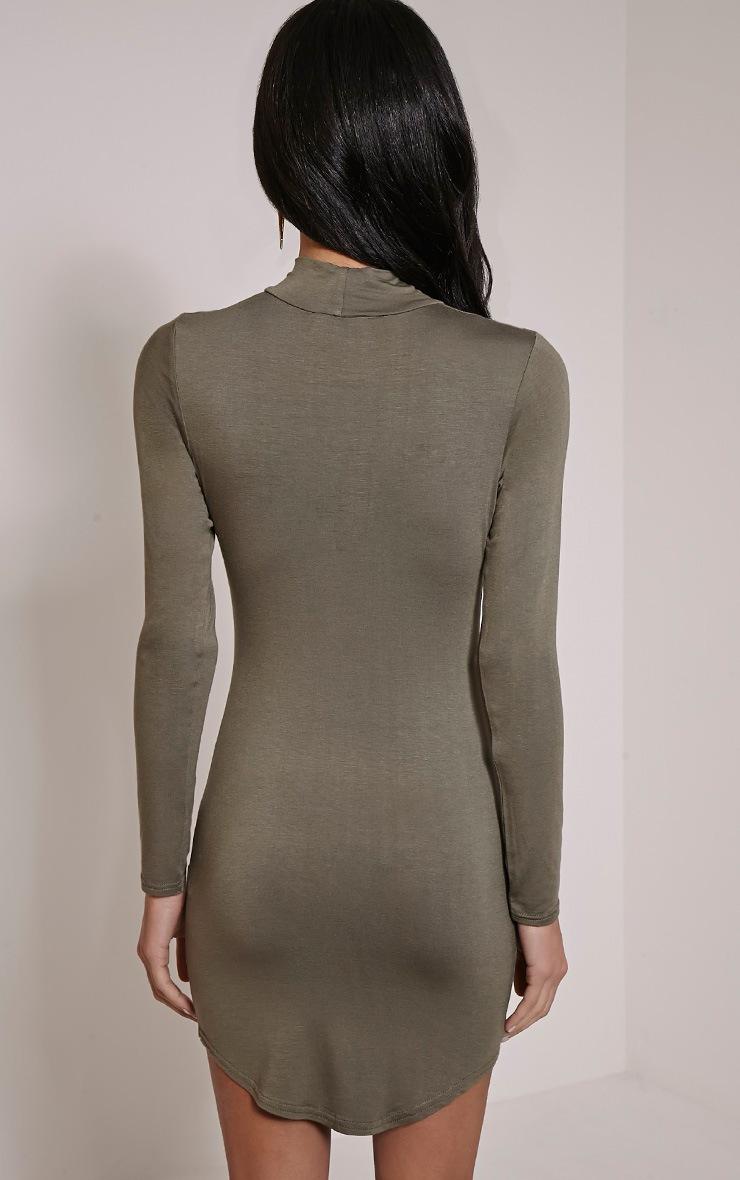 Alby Khaki Curve Hem High Neck Dress 2