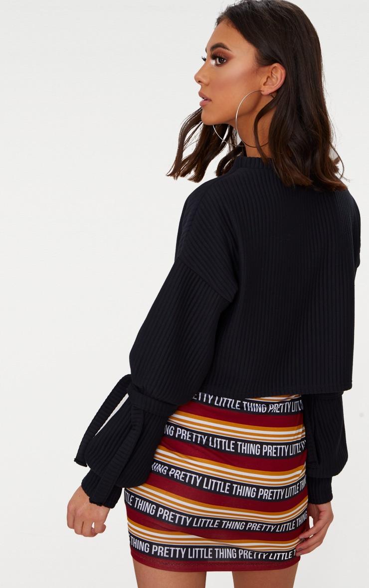Black Rib Cuff Detail Sweater  2