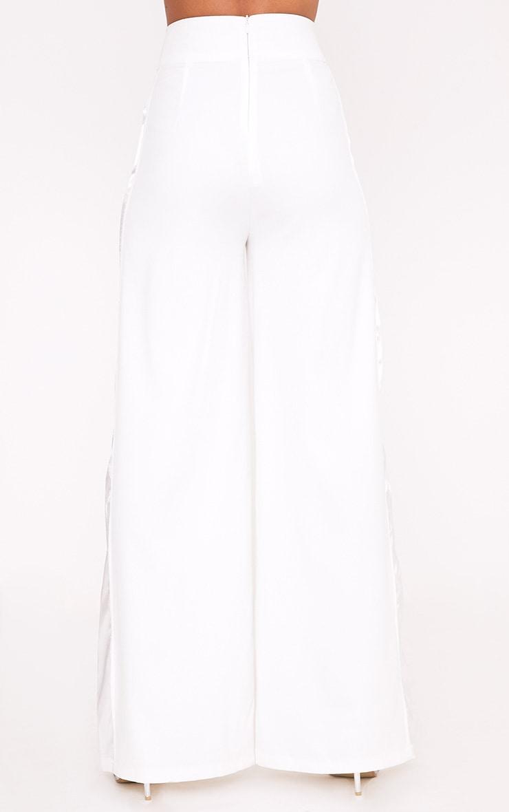Rayla White Wide Leg Satin Stripe Suit Trousers 4