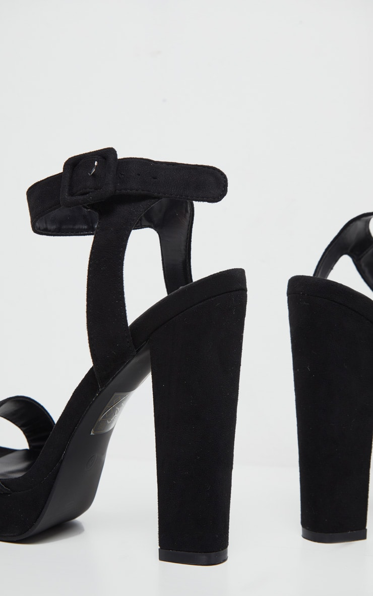Black Faux Suede High Platform Sandal 4