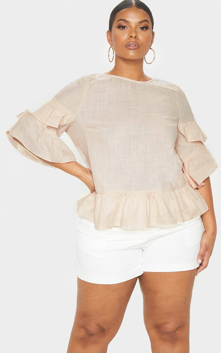 Plus Nude Woven Frill Sleeve Blouse  1