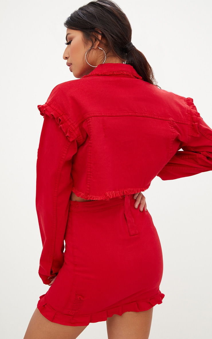 Red Ruffle Cropped Denim Jacket  2