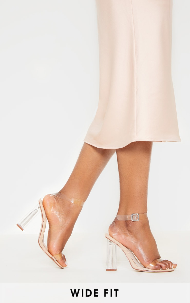 Nude Wide Fit Clear Block Heel Sandal 1