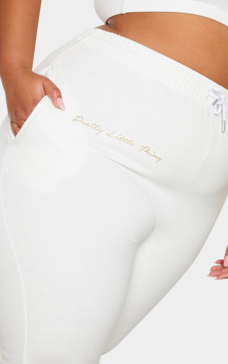 PRETTYLITTLETHING Plus Cream Drawstring Joggers 4