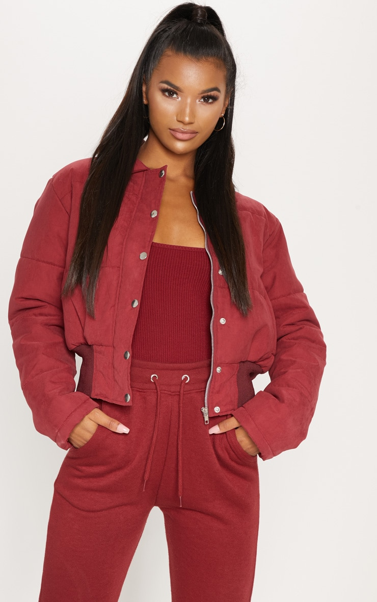 BURGUNDY Peach Skin Cropped Puffer Jacket 4