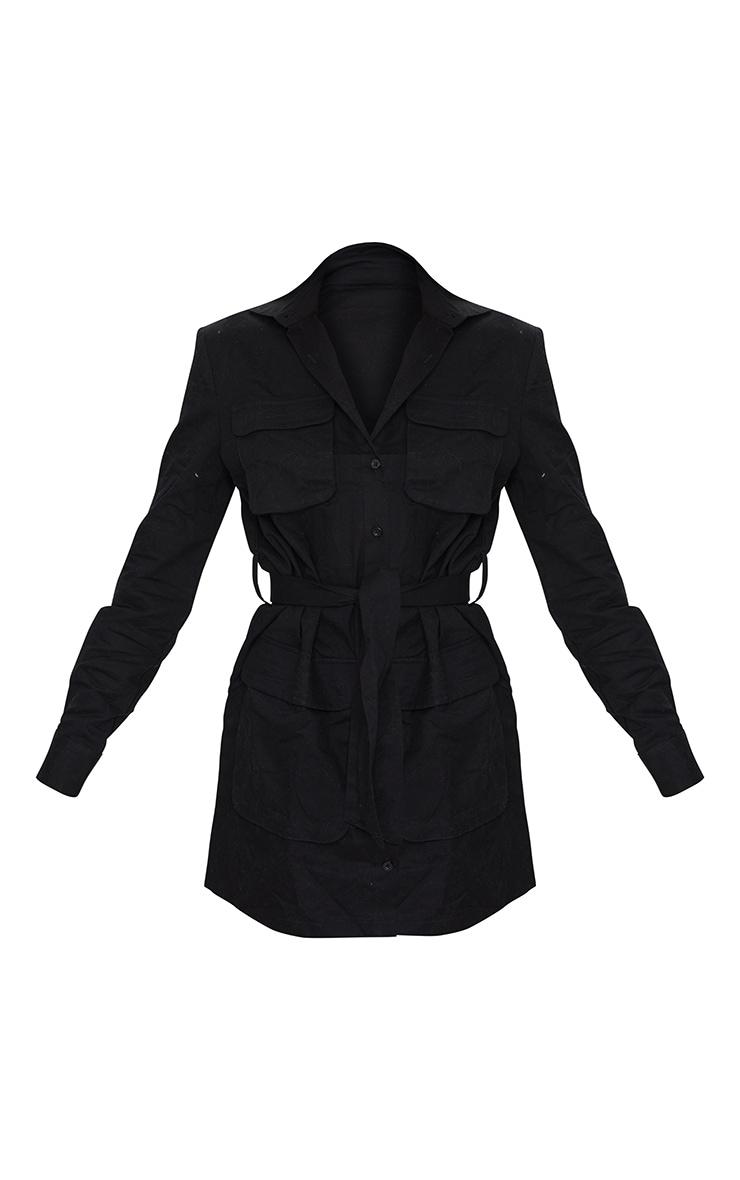 Robe chemise noire nouée à la taille style utilitaire 5