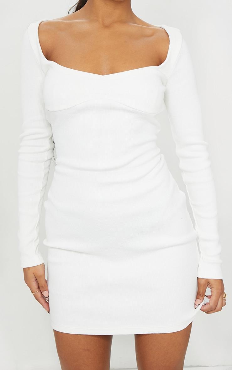 Cream Thick Rib Long Sleeve Sweetheart Neck Bodycon Dress 4