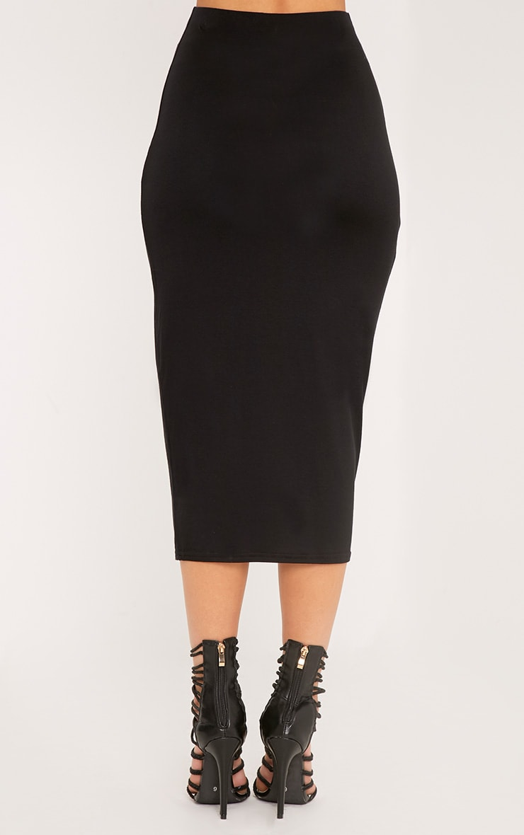 Basic Black Longline Midi Skirt 4