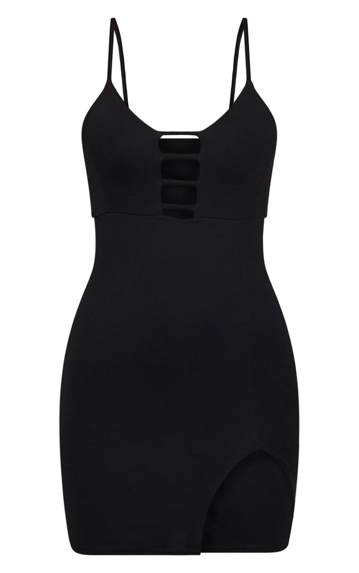 Black Strappy Plunge Split Detail Bodycon Dress 2