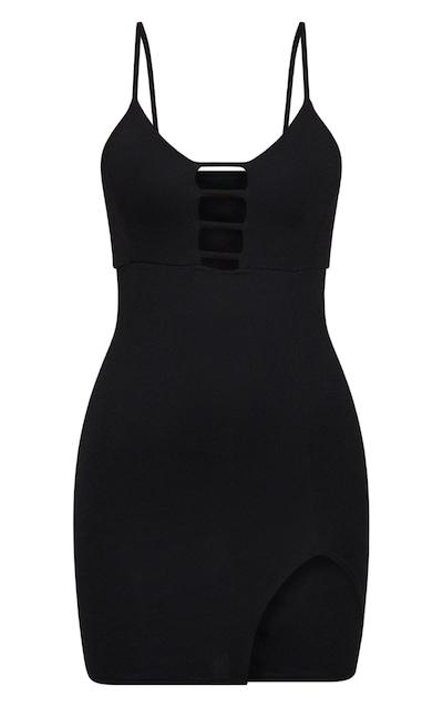 Black Strappy Plunge Split Detail Bodycon Dress