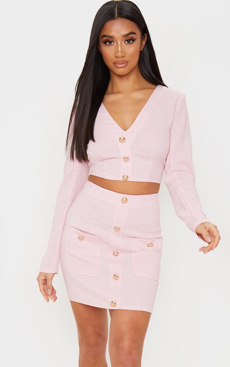 Petite Pink Tweed Button Detail Mini Skirt 5