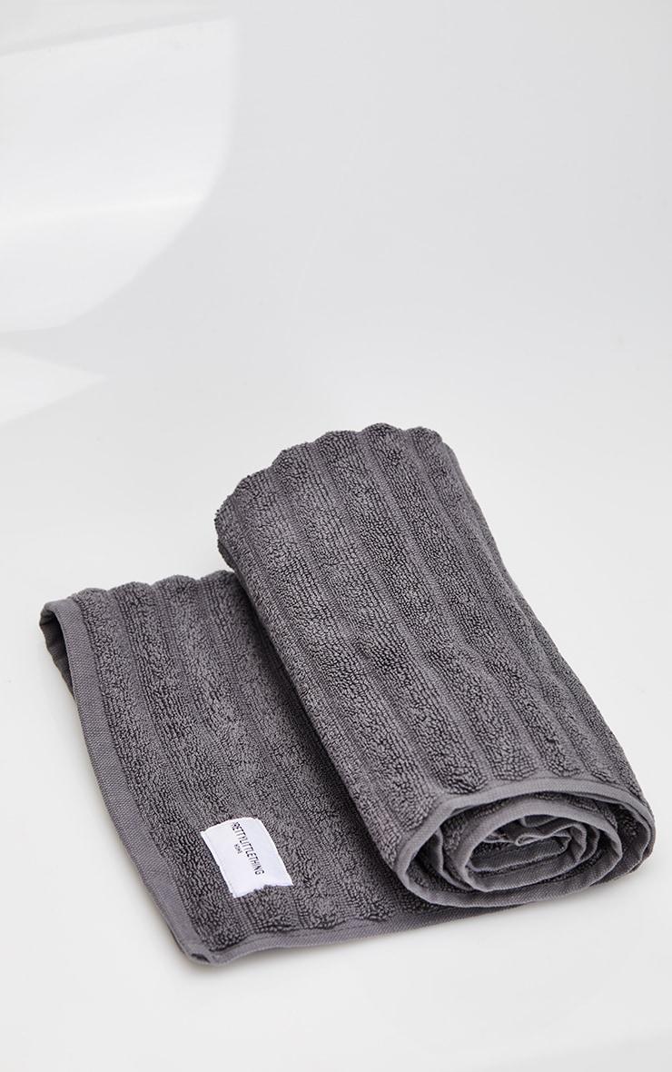 Charcoal Textured Ribbed Bath Mat 3