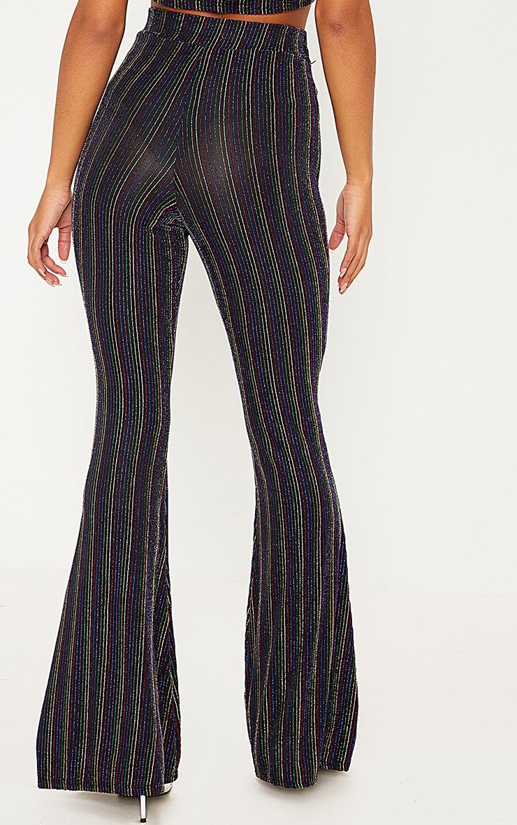 Black Rainbow Stripe Glitter Pants  4