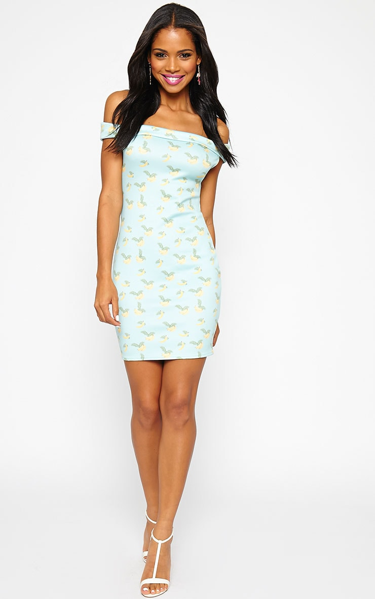Jayda Banana Print Bardot Dress 4